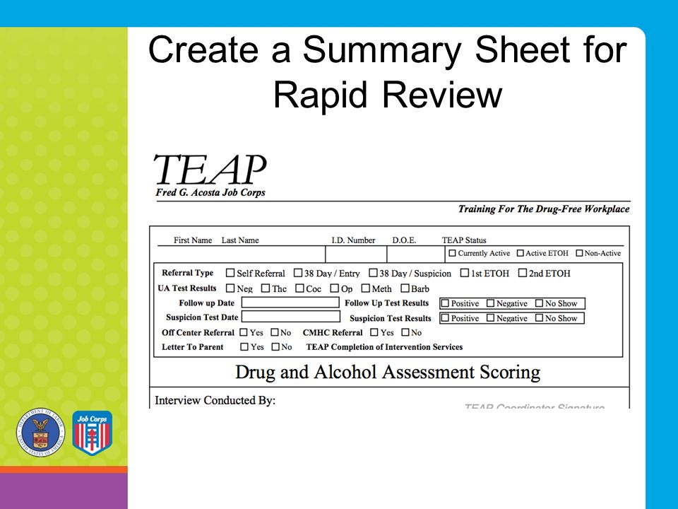 Create a Summary Sheet for Rapid Review