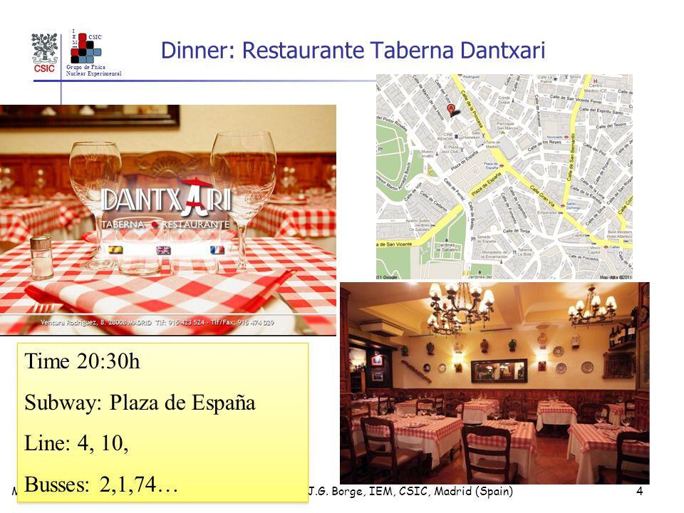 Grupo de Física Nuclear Experimental IEMIEM CSIC Dinner: Restaurante Taberna Dantxari M.J.G.