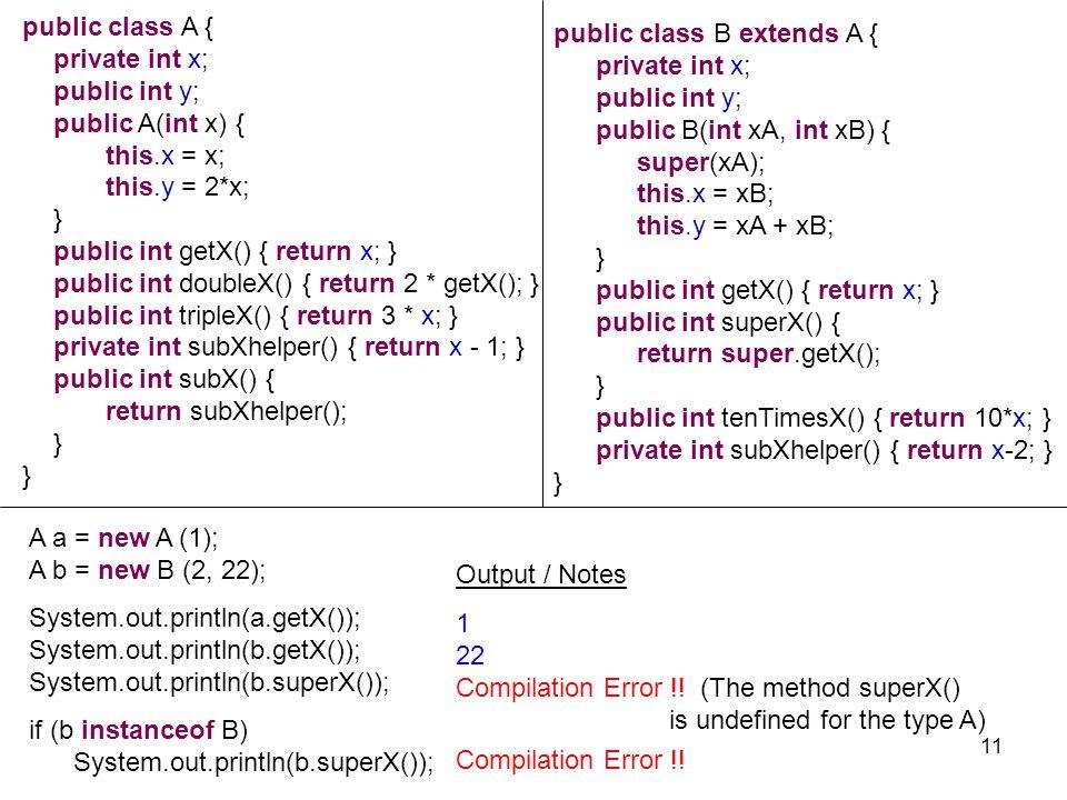 A a = new A (1); A b = new B (2, 22); System.out.println(a.getX()); System.out.println(b.getX()); System.out.println(b.superX()); 1 22 Compilation Error !.