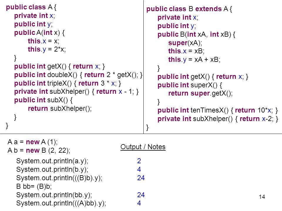 14 public class A { private int x; public int y; public A(int x){ this.x = x; this.y = 2*x; } public int getX() { return x; } public int doubleX() { r