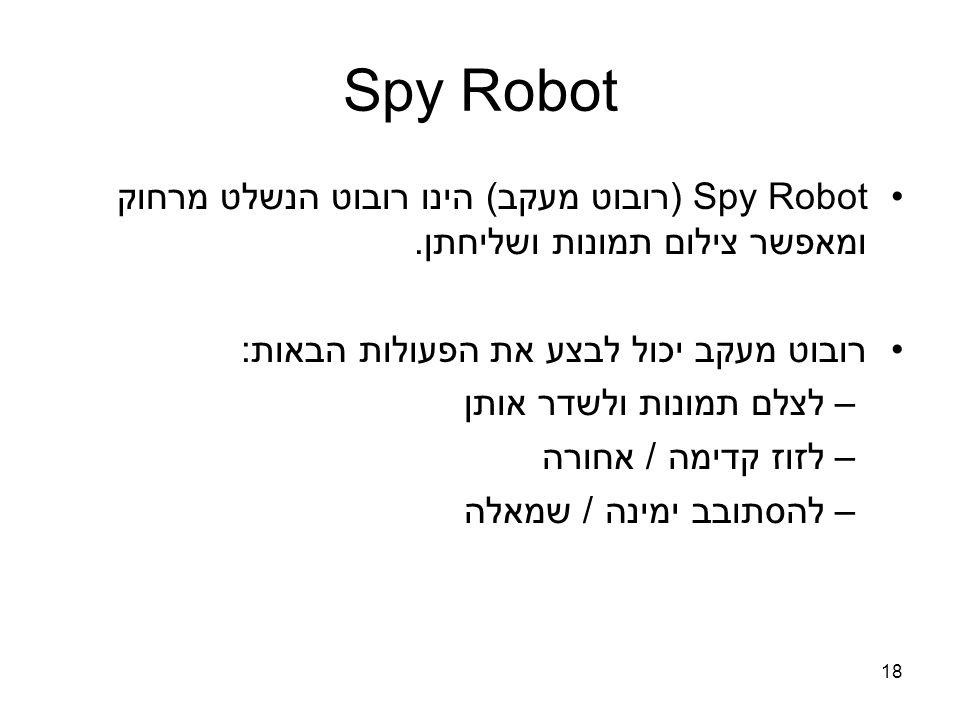 Spy Robot (רובוט מעקב) הינו רובוט הנשלט מרחוק ומאפשר צילום תמונות ושליחתן.