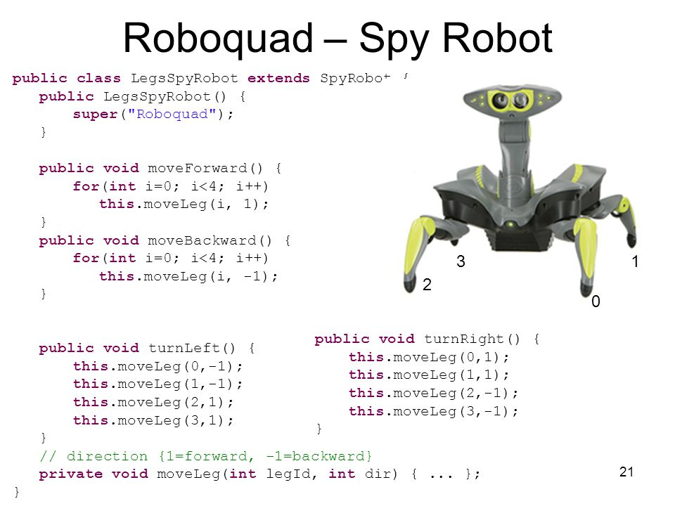 21 Roboquad – Spy Robot public class LegsSpyRobot extends SpyRobot { public LegsSpyRobot() { super( Roboquad ); } public void moveForward() { for(int i=0; i<4; i++) this.moveLeg(i, 1); } public void moveBackward() { for(int i=0; i<4; i++) this.moveLeg(i, -1); } public void turnLeft() { this.moveLeg(0,-1); this.moveLeg(1,-1); this.moveLeg(2,1); this.moveLeg(3,1); } // direction {1=forward, -1=backward} private void moveLeg(int legId, int dir) {...