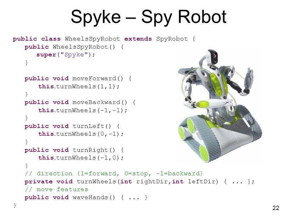 22 Spyke – Spy Robot public class WheelsSpyRobot extends SpyRobot { public WheelsSpyRobot() { super( Spyke ); } public void moveForward() { this.