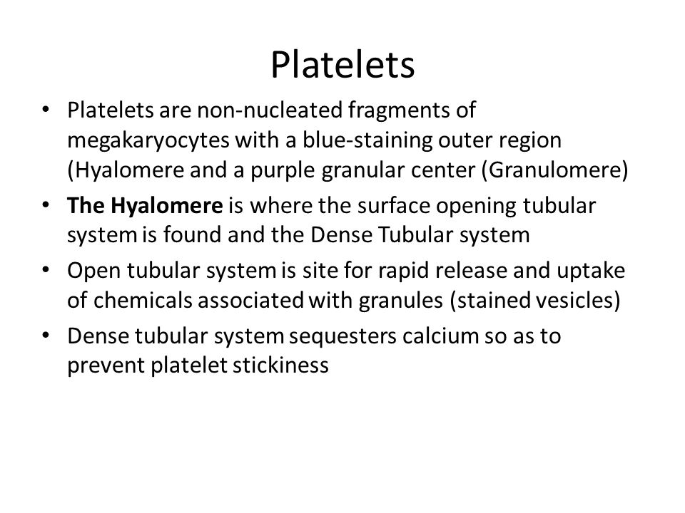 Platelets are non-nucleated fragments of megakaryocytes with a blue-staining outer region (Hyalomere and a purple granular center (Granulomere) The Hy