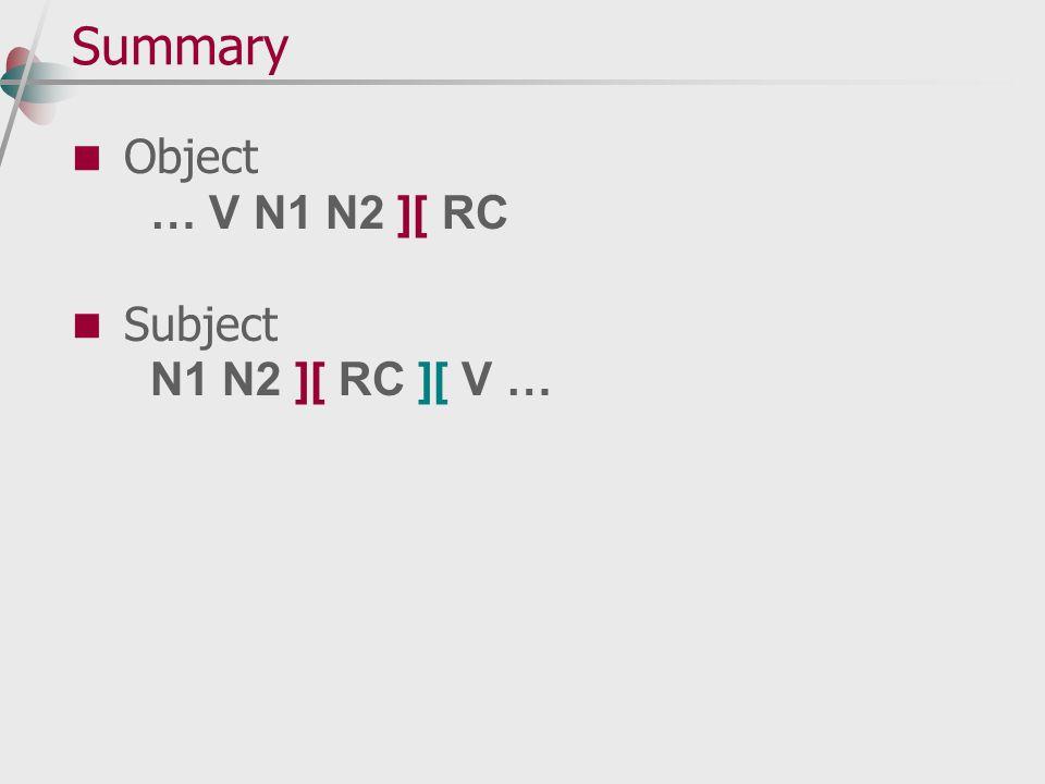 Summary Object … V N1 N2 ][ RC Subject N1 N2 ][ RC ][ V …