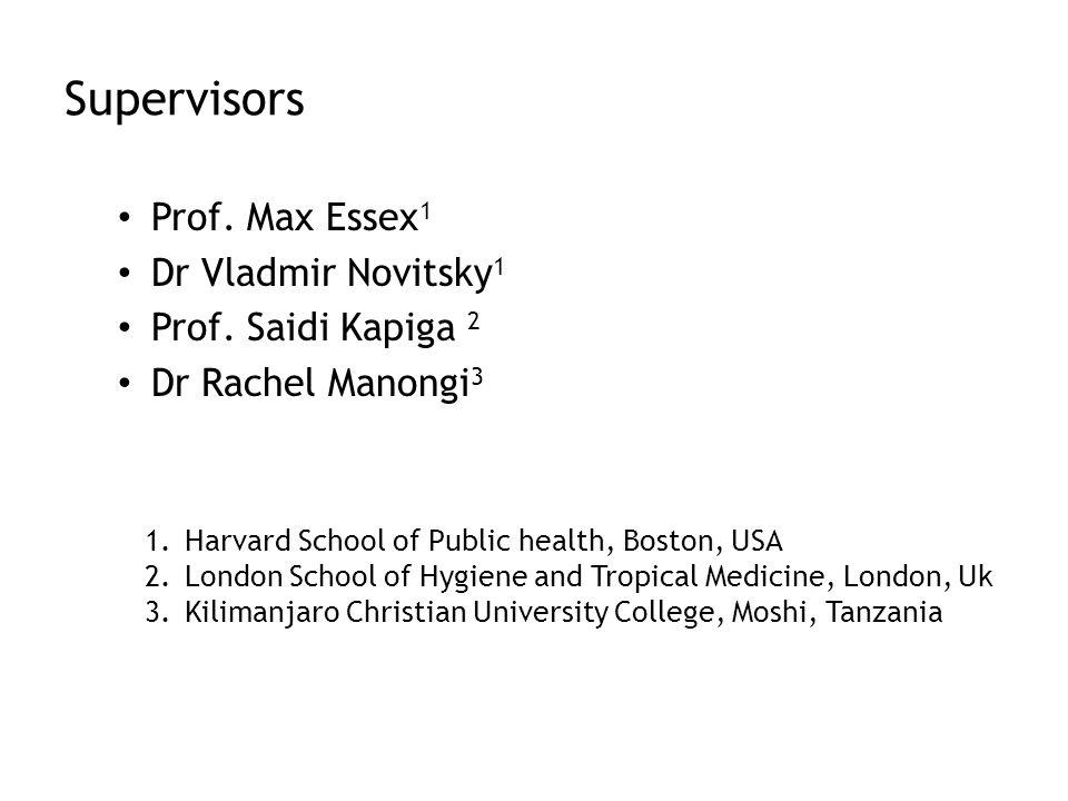 Supervisors Prof. Max Essex 1 Dr Vladmir Novitsky 1 Prof.