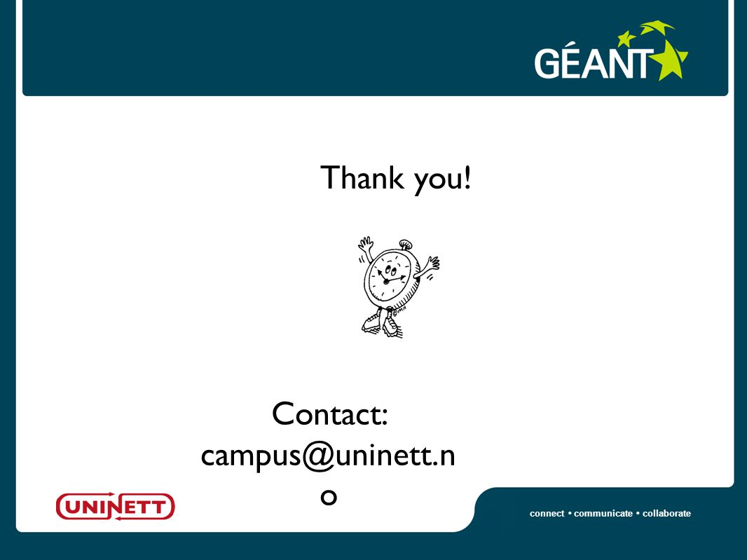 connect communicate collaborate Thank you! Contact: campus@uninett.n o