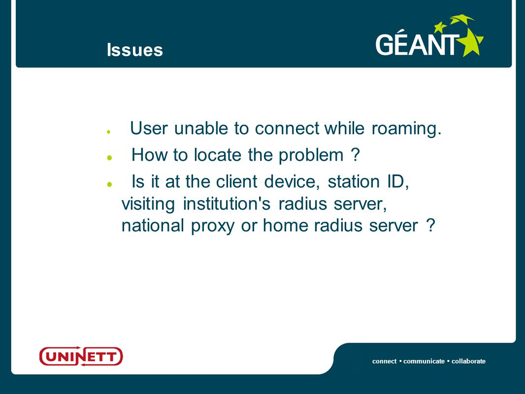connect communicate collaborate Issues User unable to connect while roaming.