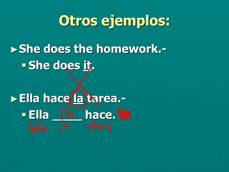 Otros ejemplos: ► She does the homework.-  She does it. ► Ella hace la tarea.-  Ella ____ hace.