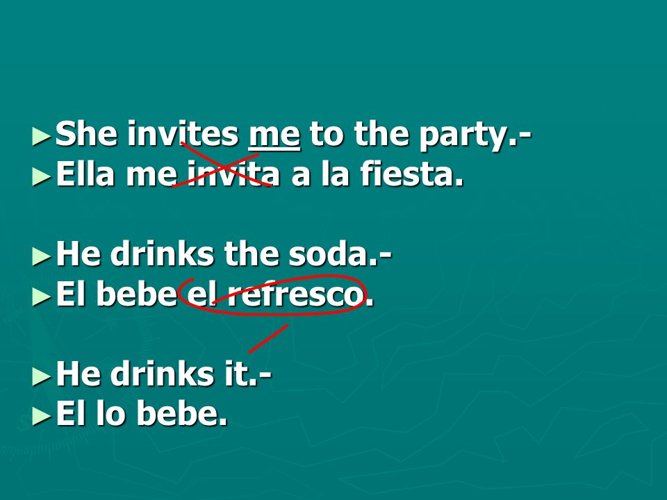 ► She invites me to the party.- ► Ella me invita a la fiesta.