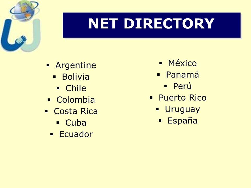 NET DIRECTORY  Argentine  Bolivia  Chile  Colombia  Costa Rica  Cuba  Ecuador  México  Panamá  Perú  Puerto Rico  Uruguay  España