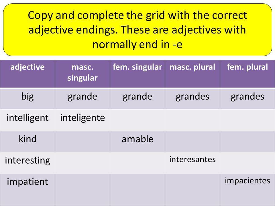adjectivemasc. singular fem. singularmasc. pluralfem.