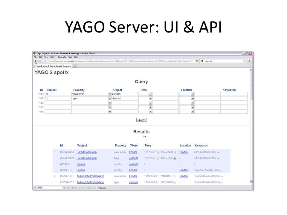 YAGO Server: UI & API
