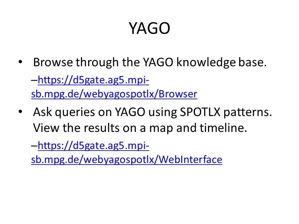 Browse through the YAGO knowledge base.