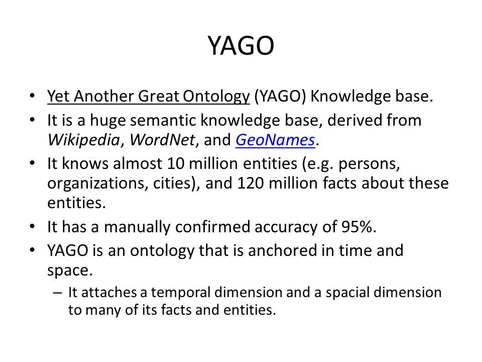 YAGO Yet Another Great Ontology (YAGO) Knowledge base.