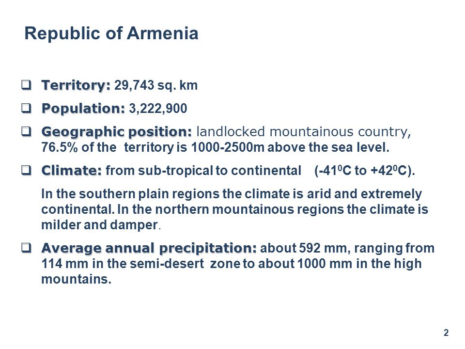  Territory:  Territory: 29,743 sq. km  Population:  Population: 3,222,900  Geographic position:  Geographic position: landlocked mountainous cou