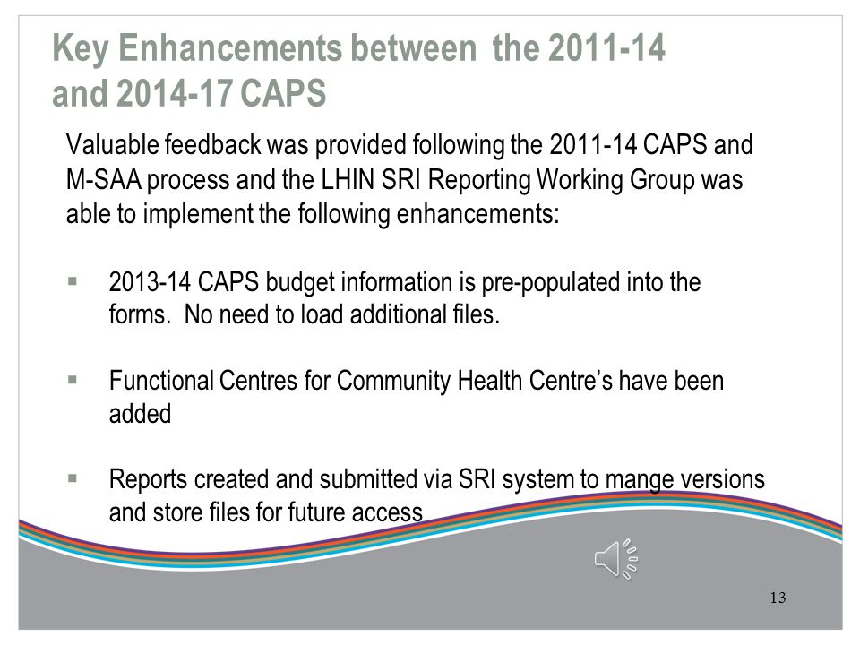 Improving the CAPS HSP and LHIN feedback identified the following high level themes  Simplify forms  Reduce errors through early testing  Eliminate
