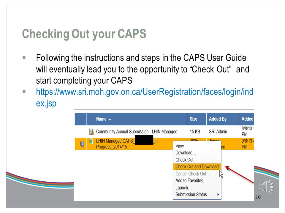 Completing Part B of the CAPS Community Accountability Planning Submission Tool  Go to https://www.sri.moh.gov.on.ca/UserRegistration/faces/login/ind