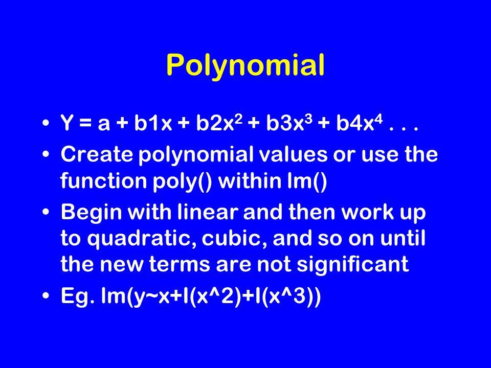 Polynomial Y = a + b1x + b2x 2 + b3x 3 + b4x 4...