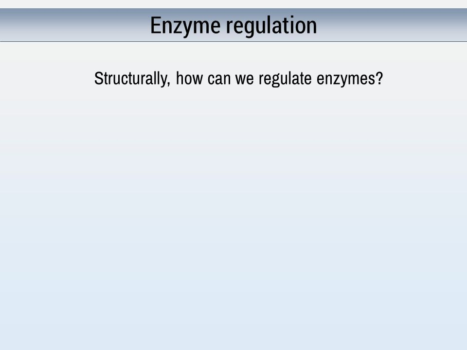 Enzyme regulation Structurally, how can we regulate enzymes