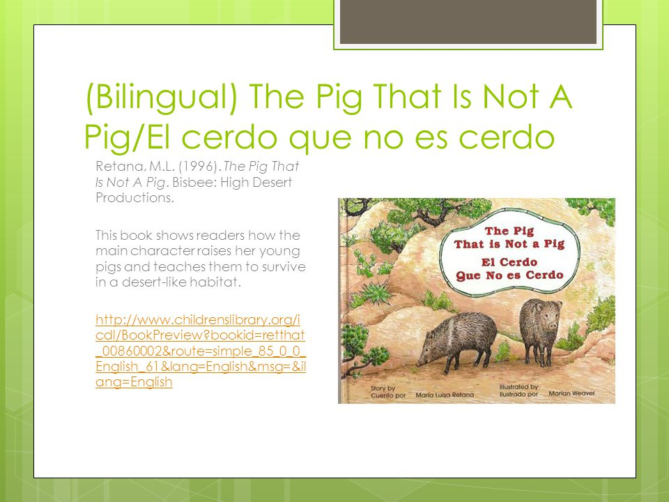 (Bilingual) The Pig That Is Not A Pig/El cerdo que no es cerdo Retana, M.L. (1996). The Pig That Is Not A Pig. Bisbee: High Desert Productions. This b