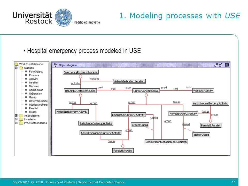 10 Hospital emergency process modeled in USE 1.
