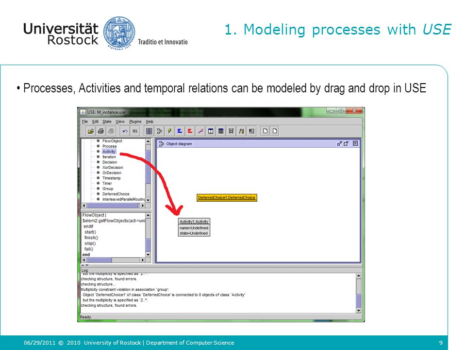9 Processes, Activities and temporal relations can be modeled by drag and drop in USE 1.