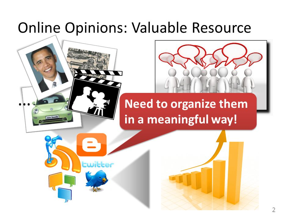 Online Opinions: Valuable Resource 2 Need to organize them in a meaningful way.