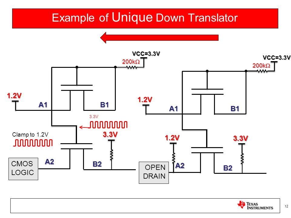 Example of Unique Down Translator 12 200k  B1A1 1.2V A2 B2 VCC=3.3V 3.3V CMOS LOGIC 200k  B1A1 1.2V A2 B2 VCC=3.3V 3.3V OPEN DRAIN 1.2V 3.3V Clamp t