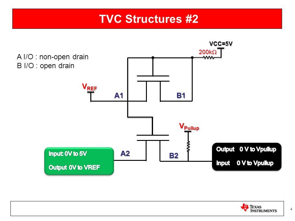 TVC Structures #2 4 200k  B1A1 V REF A2 B2 VCC=5V V Pullup A I/O : non-open drain B I/O : open drain