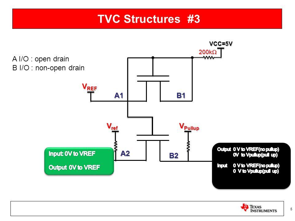 TVC Structures #3 5 200k  B1A1 V REF A2 B2 VCC=5V A I/O : open drain B I/O : non-open drain V ref V Pullup