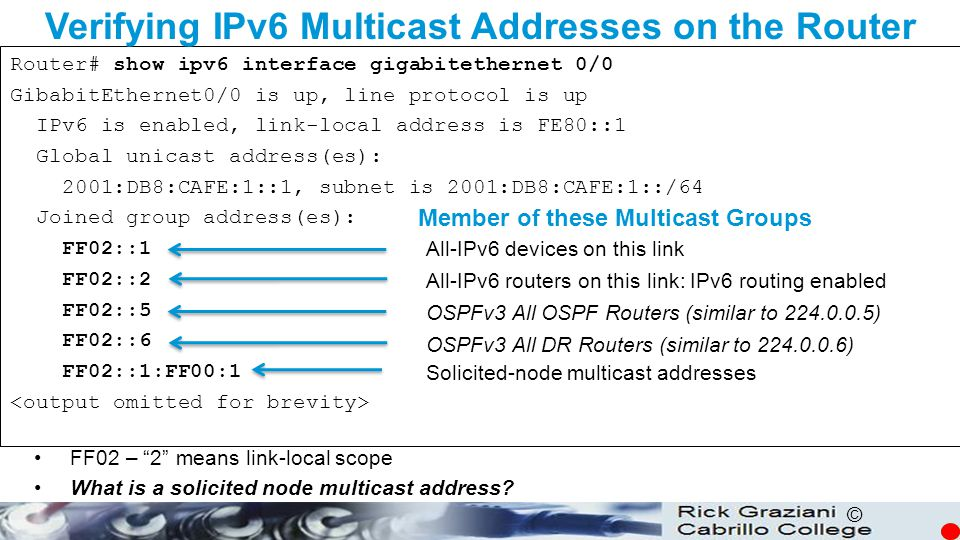 © Router# show ipv6 interface gigabitethernet 0/0 GibabitEthernet0/0 is up, line protocol is up IPv6 is enabled, link-local address is FE80::1 Global