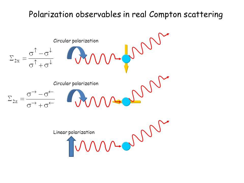 Polarization observables in Compton scattering Circular polarization Linear polarization