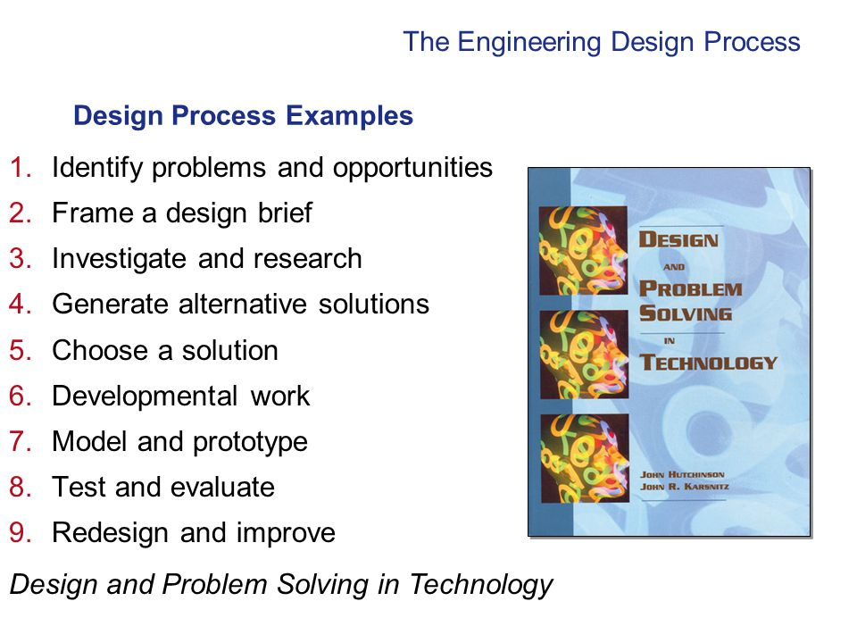 The Engineering Design Process Design Process Examples 1.Identify problems and opportunities 2.Frame a design brief 3.Investigate and research 4.Generate alternative solutions 5.Choose a solution 6.Developmental work 7.Model and prototype 8.Test and evaluate 9.Redesign and improve Design and Problem Solving in Technology