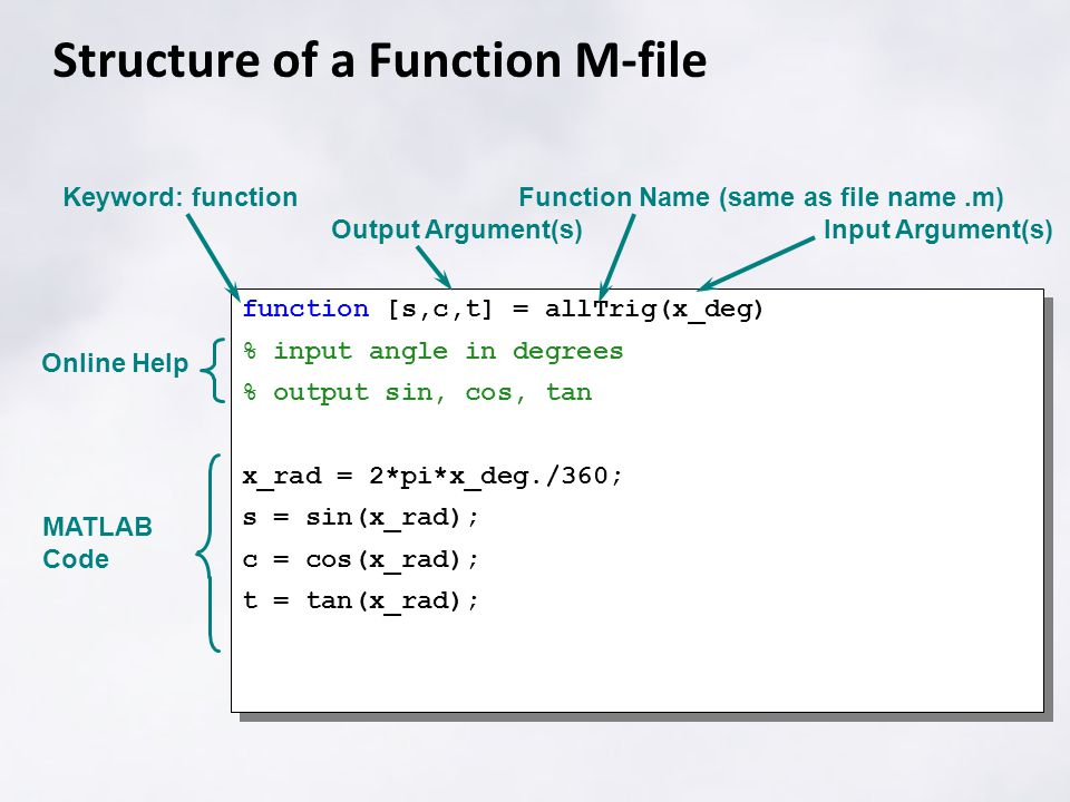 If, else, elseif if condition statements; elseif condition statements; else statements; end Generic form: if A<0 disp('A is negative') elseif A>0 disp('A is positive') else disp('A is neither') end example condition – a logical statement: evaluates to true (1) or false (0) statements – and other valid matlab statements disp function displays a string in command window