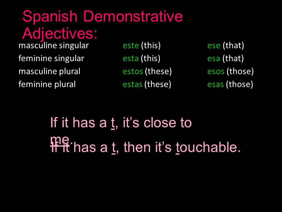 Spanish Demonstrative Adjectives: masculine singular este (this)ese (that) feminine singular esta (this)esa (that) masculine plural estos (these)esos (those) feminine plural estas (these)esas (those) If it has a t, it's close to me.