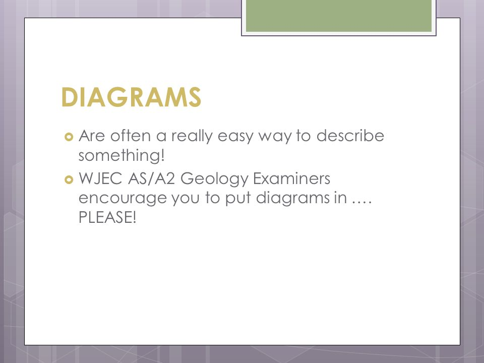 DIAGRAMS  Are often a really easy way to describe something.