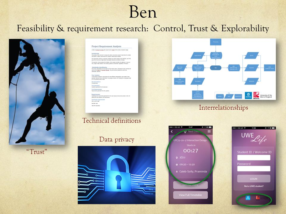 Ben Feasibility & requirement research: Control, Trust & Explorability Technical definitions Interrelationships Trust Data privacy
