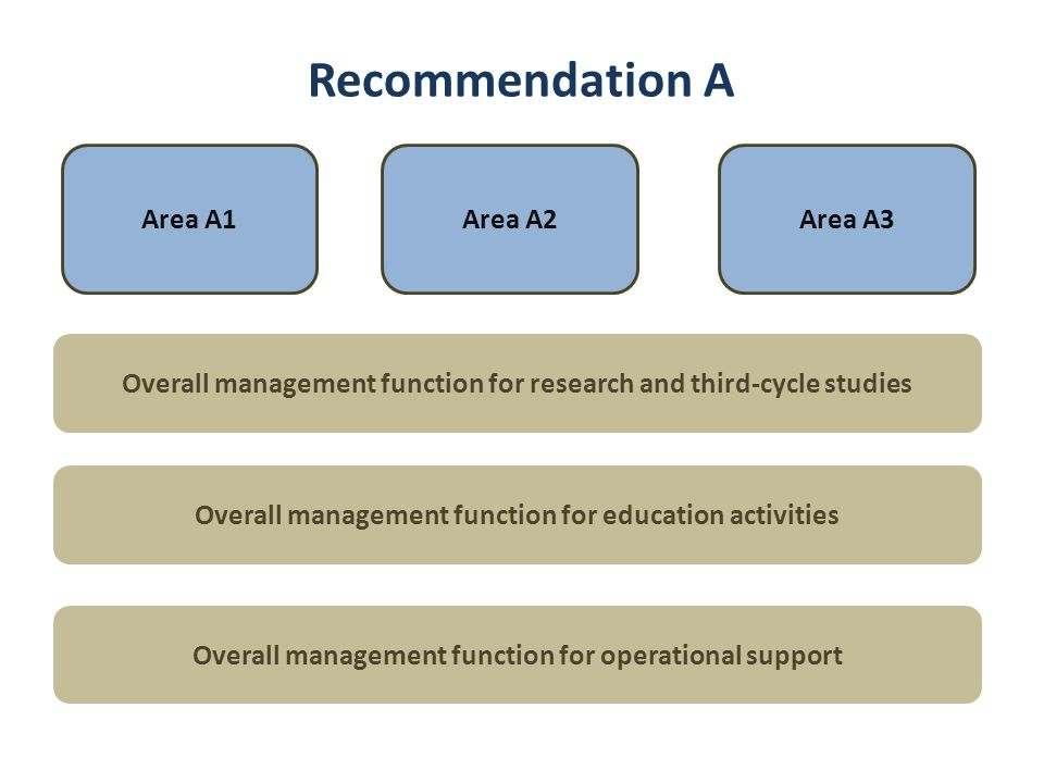Recommendation A Area A1Area A2Area A3 Overall management function for research and third-cycle studies Overall management function for education activities Overall management function for operational support