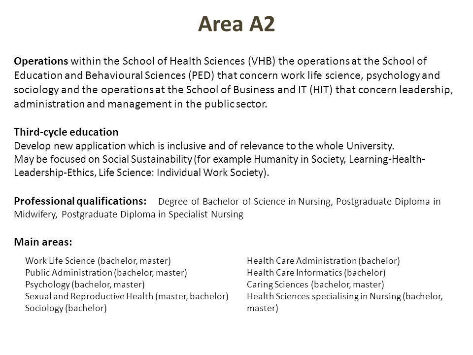 Operations within the School of Health Sciences (VHB) the operations at the School of Education and Behavioural Sciences (PED) that concern work life science, psychology and sociology and the operations at the School of Business and IT (HIT) that concern leadership, administration and management in the public sector.