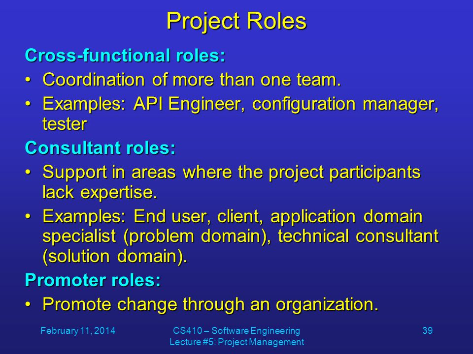 February 11, 2014CS410 – Software Engineering Lecture #5: Project Management 39 Project Roles Cross-functional roles: Coordination of more than one team.Coordination of more than one team.
