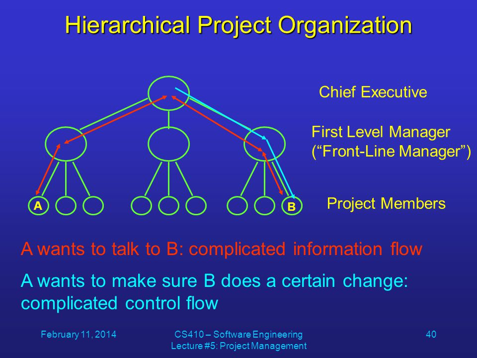 February 11, 2014CS410 – Software Engineering Lecture #5: Project Management 40 Hierarchical Project Organization Chief Executive First Level Manager ( Front-Line Manager ) Project Members A B A wants to talk to B: complicated information flow A wants to make sure B does a certain change: complicated control flow