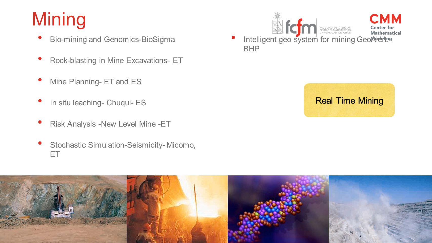 Bio-mining and Genomics-BioSigma Rock-blasting in Mine Excavations- ET Mine Planning- ET and ES In situ leaching- Chuqui- ES Risk Analysis -New Level Mine -ET Stochastic Simulation-Seismicity- Micomo, ET Intelligent geo system for mining GeoAlert.