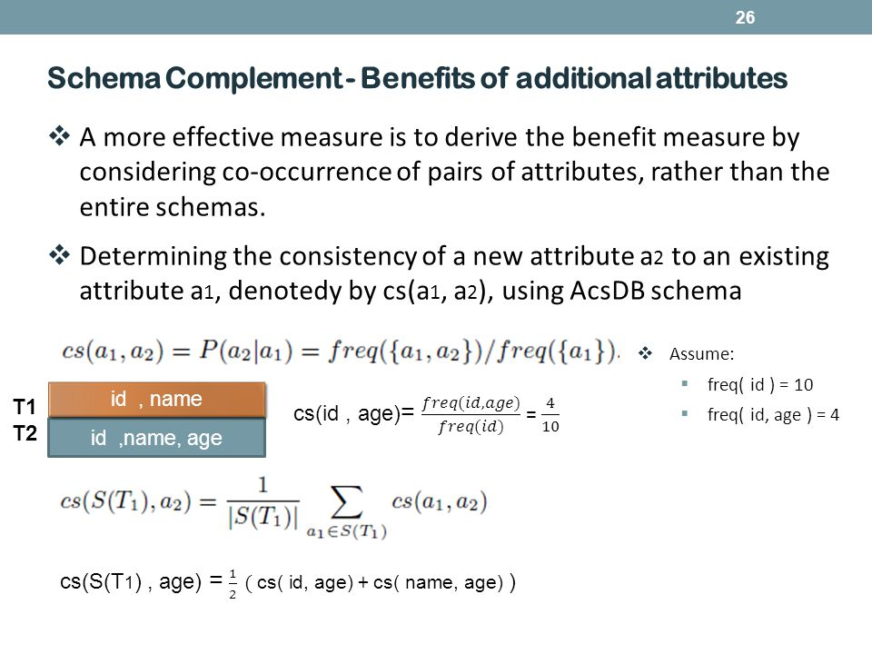 26 Schema Complement - Benefits of additional attributes  A more effective measure is to derive the benefit measure by considering co-occurrence of pairs of attributes, rather than the entire schemas.