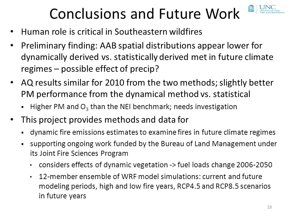 Conclusions and Future Work Human role is critical in Southeastern wildfires Preliminary finding: AAB spatial distributions appear lower for dynamically derived vs.