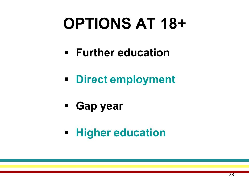 28 OPTIONS AT 18+  Further education  Direct employment  Gap year  Higher education