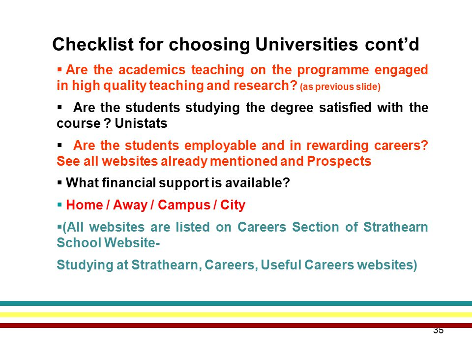 35 Checklist for choosing Universities cont'd  Are the academics teaching on the programme engaged in high quality teaching and research.