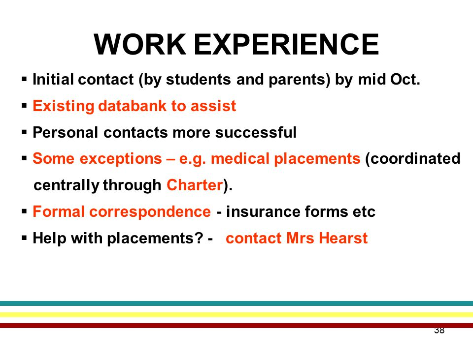 38 WORK EXPERIENCE  Initial contact (by students and parents) by mid Oct.