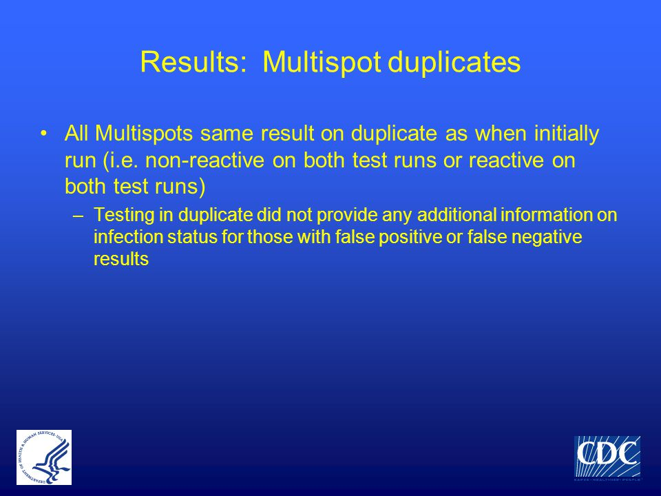 Results: Multispot duplicates All Multispots same result on duplicate as when initially run (i.e. non-reactive on both test runs or reactive on both t