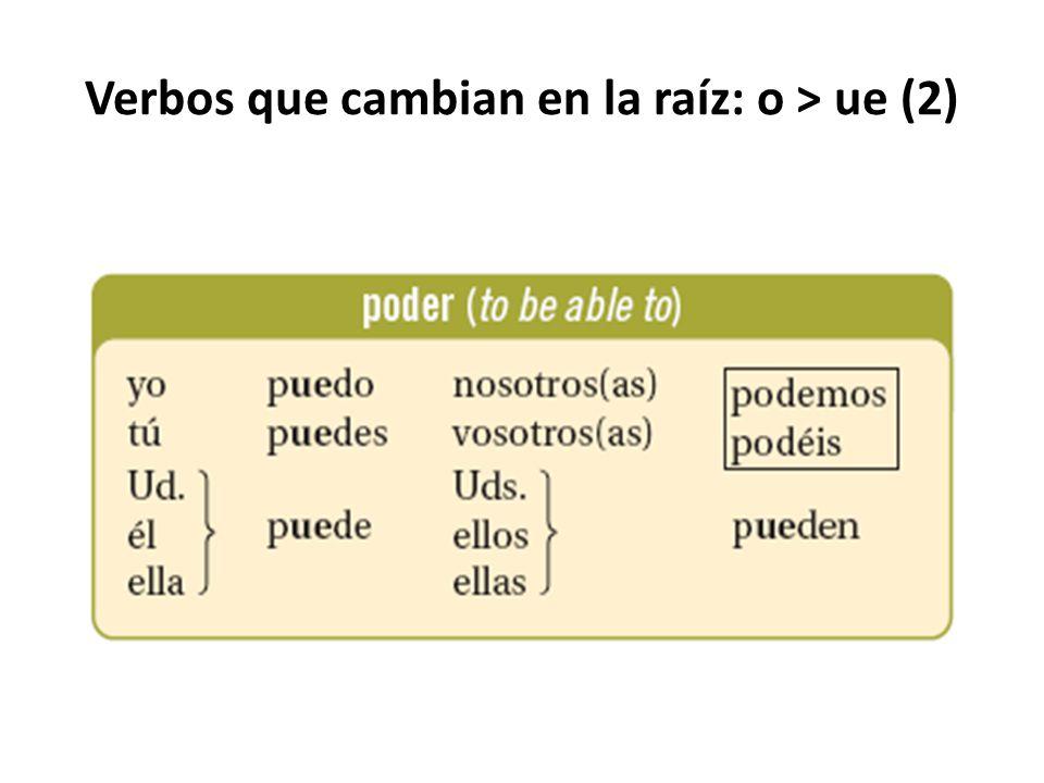 Verbos que cambian en la raíz: o > ue (2)